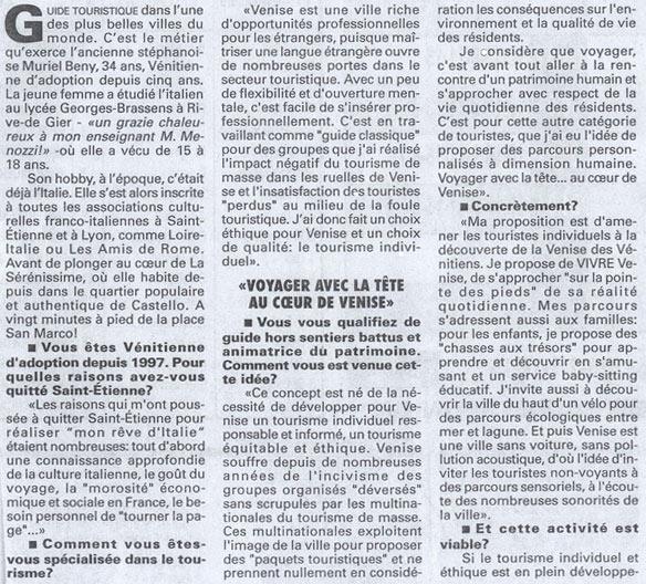 Le journal Le progrès de Lyon parle de mes parcours et visites hors sentiers-battus et la nécessité de voyager autrement au coeur de Venise.