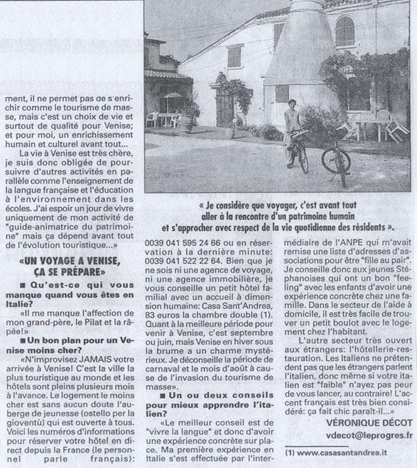 La deuxième page du journal Le Progrès de Lyon parle de mes parcours pour un tourisme durable à Venise